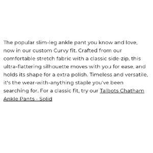 Talbots Pants - Talbots Chatam Flat Front Pants 6 Petite